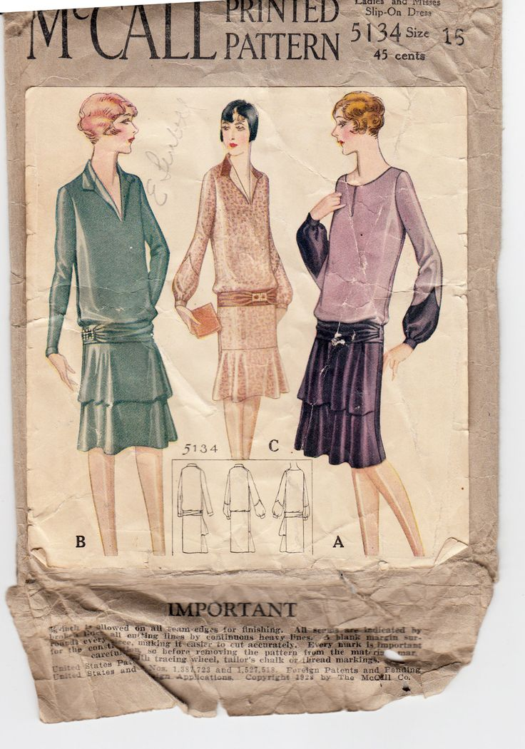 "McCall 5134; ©1928; Ladies' and Misses' Slip-On Dress Add a photo to the gallery by clicking the ""modify"" button below."