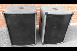 """On offer is a pair of nice dark grey carpet covered wood particle 18mm board BASS BINS that now have 15"""" 200w RMS 400W peak drivers running direct from 1/4 jack input. One driver is a brand new high quality cast ally chassis Soundlab the other a Behringer and working fine, were used bi amped with mid tops. They have steel top hats for pole mounting top cabs steel corner protectors and grille with plastic teardrop bar handles. £150 #Ilfracombe #Barnstaple #Bideford #Exmoor #NDevon #Devon"""
