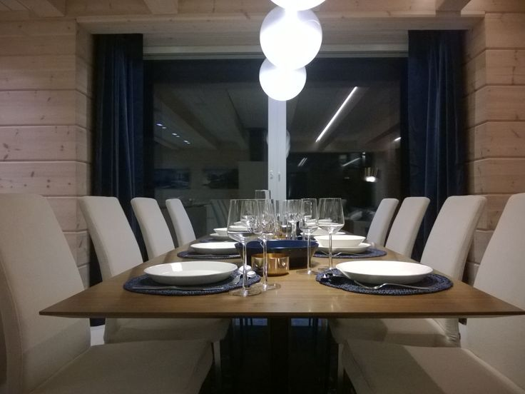 Villa Kapee dining table at night. Housig Fair Finland 2015. Designed by Hanna-Marie Naukkarinen
