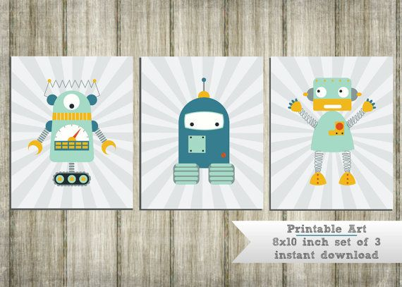 Robot Nursery Wall Art  print your own , instant download , printable 3 piece 8x10 inch set ,  teal blue and gray,  for baby boy