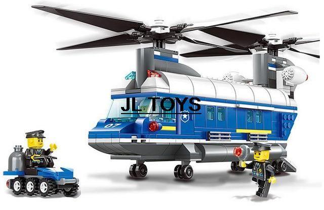 Моделирование Город Супер полицейские кирпичи тяжеловесных вертолет сборка пластиковые building block совместимые покемон пойти для детей подарки