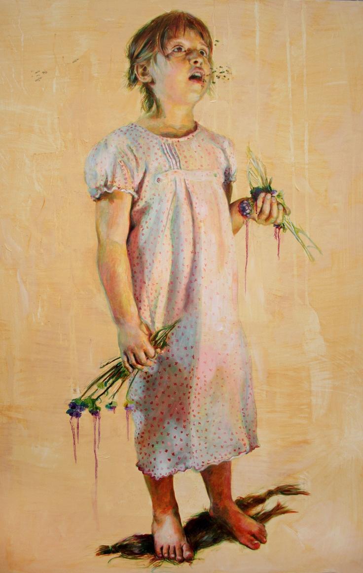 Jara Marzulli | La bambina e le api |2012 | acrilic, oil and pencil on canavas |120x80cm