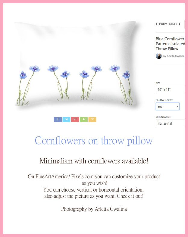 Minimalism on throw pillow? Blue cornflowers on white background. Now you can customize your products on FineArtAmerica/ Pixels.com as you wish?! Go to the link and check it yourself, choose the vertical or horizontal orientation and adjust the picture as you want it to be printed. Photography by Arletta Cwalina. See more clothes and home decor ideas and if you love it, feel free to share, maybe your friends would like to have it :)