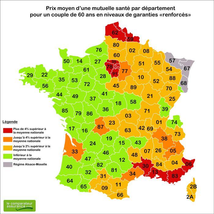Dans quel département français un senior paie-t-il le moins cher son assurance santé ? Après l'analyse des prix des mutuelles seniors, LeComparateurAssurance.com dresse la carte de France des tarifs des mutuelles senior.   Nord-Pas-de-Calais, région parisienne, PACA sont les régions les plus chères en termes de tarif mutuelle senior.  http://www.lecomparateurassurance.com/C-5-univers-sante/P-10594-F-1001-mutuelle-senior