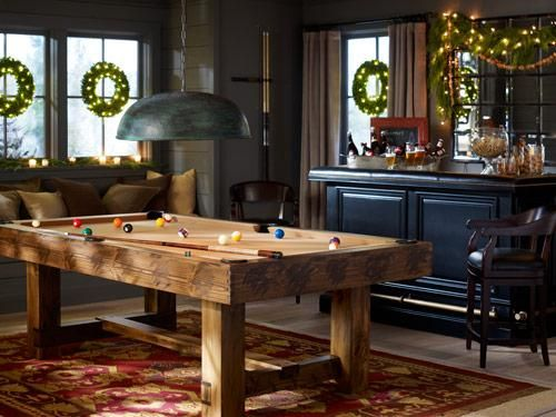 game room- rustic pool table