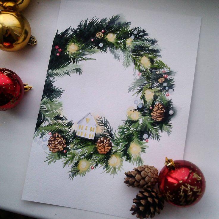Рождественский венок. Самое простое задание для меня оказалось не самым простым. #акварельнаязима #kalachevaschool #акварель #рисуюкаждыйдень #учусьрисовать #венок #рождество #зима #watercolor #christmas #winter