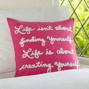 pink quote pillow
