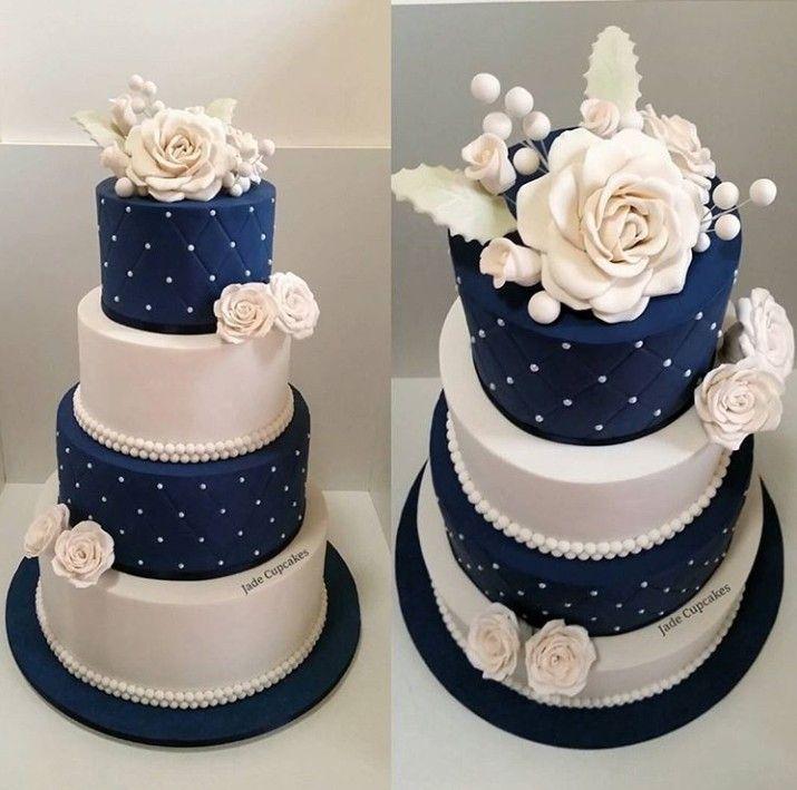 White And Navy Wedding Cake Wedding Cake Navy Wedding Cakes