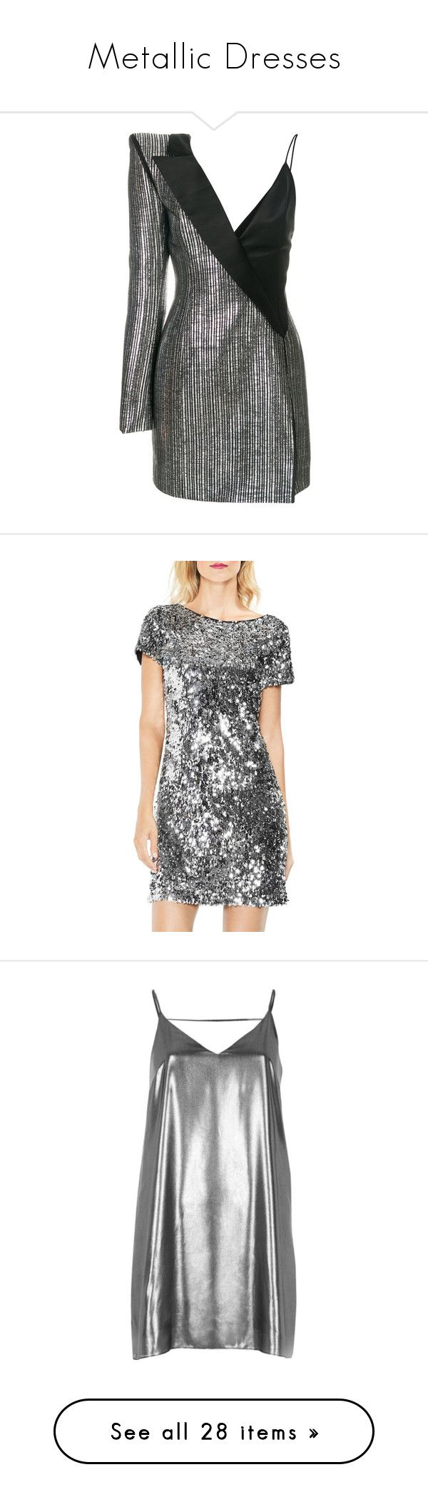 """""""Metallic Dresses"""" by tiana25 ❤ liked on Polyvore featuring dresses, metallic, thierry mugler dress, one shoulder metallic dress, off one shoulder dress, metallic cocktail dress, one-sleeve dress, chrome, going out dresses and sequin party dresses"""
