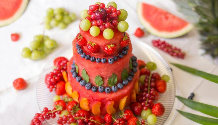 Melonen Low-Carb Gesund Wassermelone Sommer Torte Raw Baking Gesund Obst