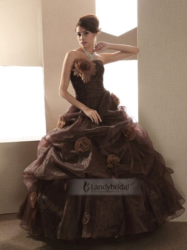 Color princess wedding dress in bustier brown by an for Brown dresses for wedding