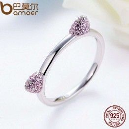 BAMOER 100% 925 Sterling Silver Pink CZ Crystals Cat Ears Ring