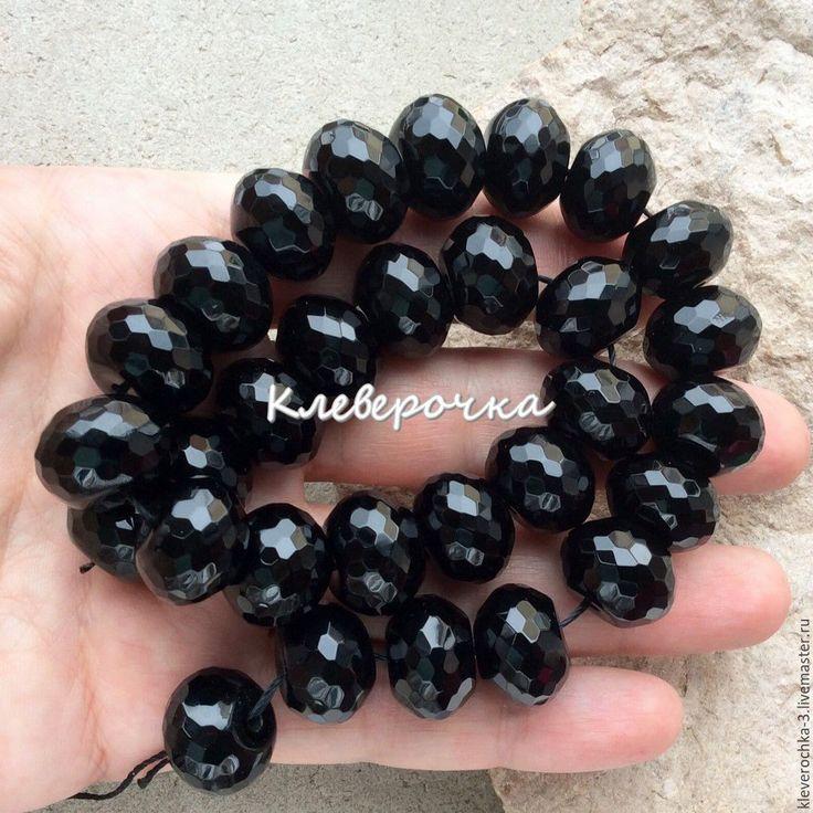 Купить .Оникс 10,16 мм черный шайба огранка бусины камни см.описание и фото