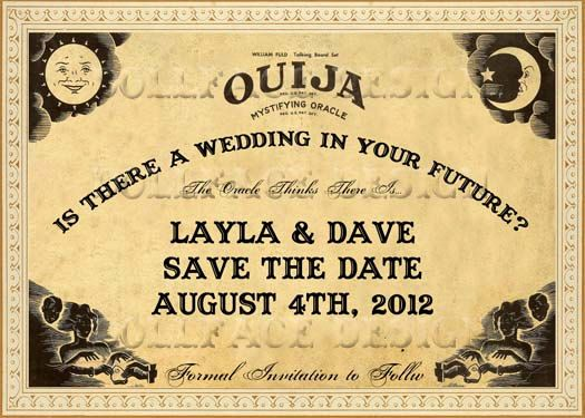 Vintage Sepia Ouija Board Printable Save The Date Cards - Digital Download - Bohemian Gypsy Halloween Wedding - Personalized. $4.99, via Etsy.