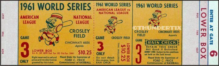 5 1961-62 WORLD SERIES UNUSED FULL TICKETS YANKEES win both years + bonus