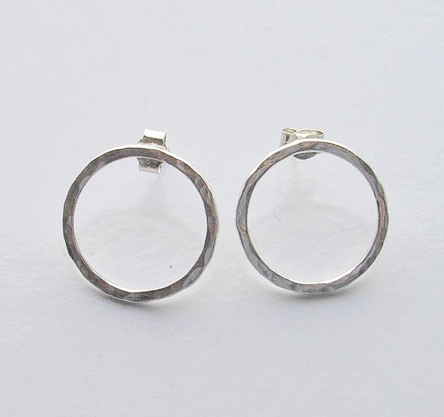 Textured Sterling Silver Hoop Stud Earrings £18.00