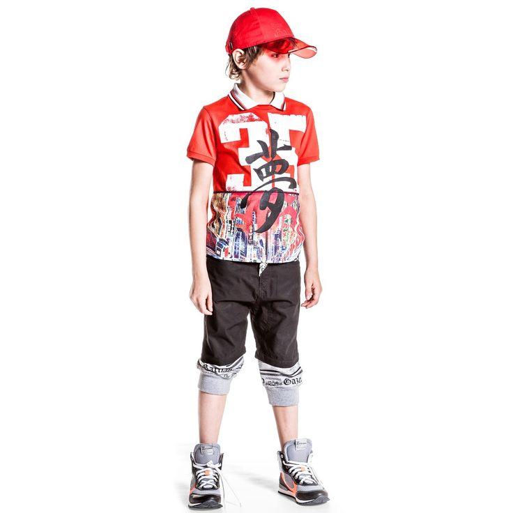 John Galliano - Boys Black Cotton Layered Shorts with Logo | Childrensalon
