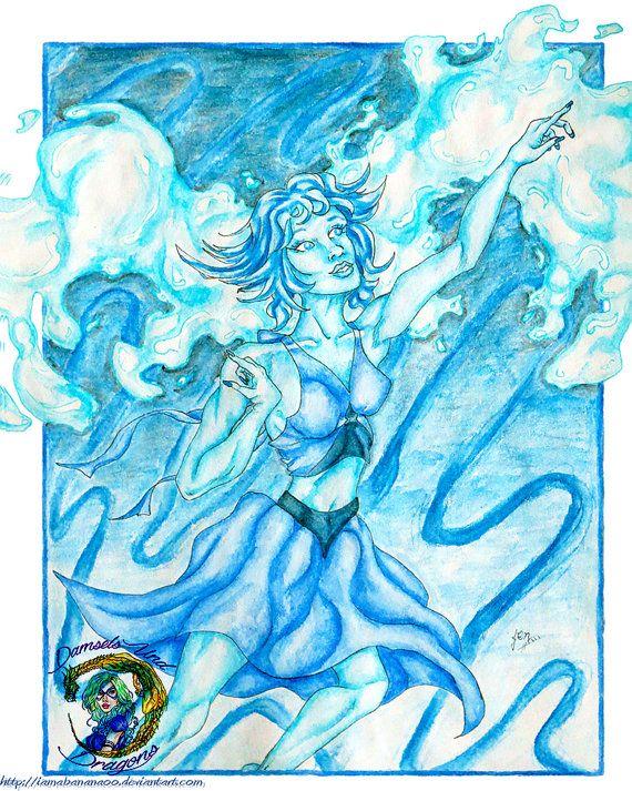 "Lapis Lazuli - 8"" x 10"" Print - Crystal Gems & Steven Universe Art - Gemstone Pin Up - Cartoon Network"
