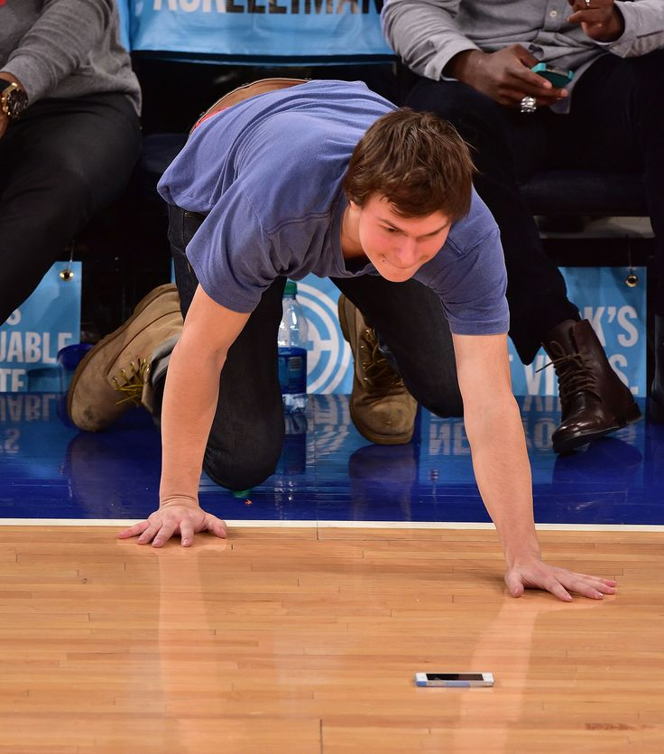 He dropped his phone on the court and CRAWLED after it.