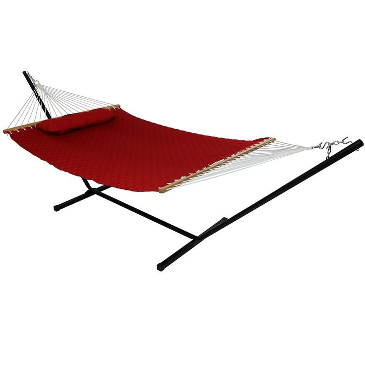 Sunnydaze Quilted Double Fabric 2-Person Hammock & Hammock Stand (Red) (Polyester) #Sunnydaze Decor, Patio Furniture
