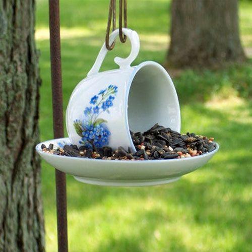 birds, bird feeders, backyard, goldfinch, handmade, tea cup, bird feeder, teacup, outdoor decor, bird watching, pine siskin, bird food, chic...