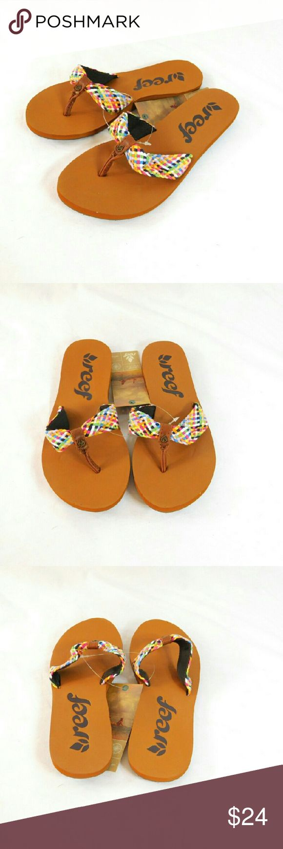 REEF Mallory Scrunch Multi Color Flip Flops Thanks for checking out my closet. I take all my own pics. The flip flops are authentic and new with tags. REEF Shoes Sandals