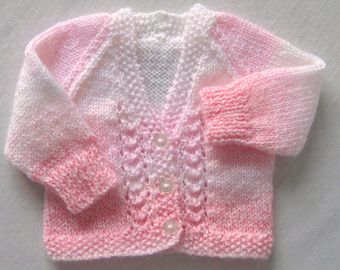 Premature baby cardigan white and pink.
