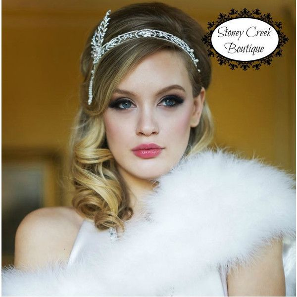 The Great Gatsby Headpiece Gatsby Headband 1920s Flapper Headband... ($32) ❤ liked on Polyvore featuring accessories, hair accessories, flapper headband, rhinestone hair accessories, roaring 20s headband, bride hair accessories and bridal hair accessories