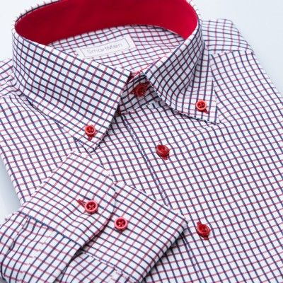 Casual košile károvaná Button-down s kontrastem