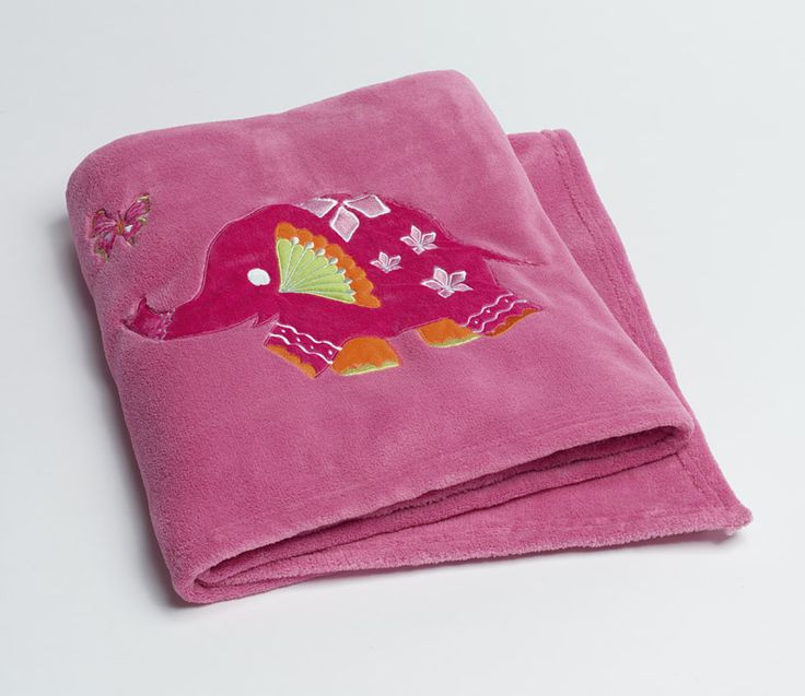 Peacock Princess Fleece Blanket in pink with elephant detailing