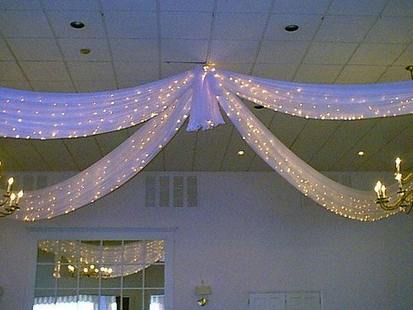 Twinkle Lights..get more lighting with .icicle light strands in the tulle for dance floor