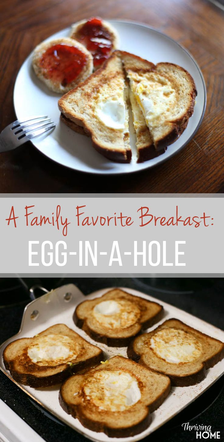 """Egg-in-a-Hole aka traditional Poor Mans Sandwich"" Ummm... I love these! They are so extremely simple to make and they combine some of my favorite breakfast elements. I am totally going to get a cookie cutter and make this more often as an easy, quick, on-the-go breakfast before work. I rate them a 10/10."