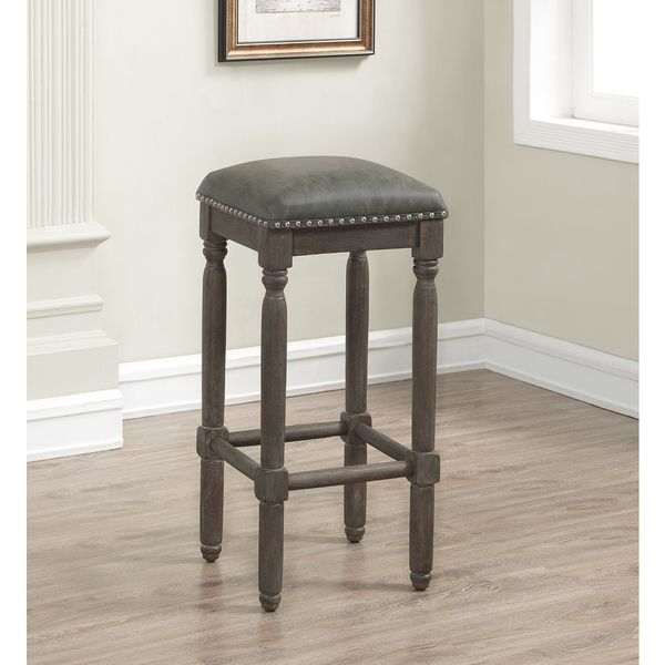 Greyson Living Brantley Grey Leather/Wood Backless Bar Stool