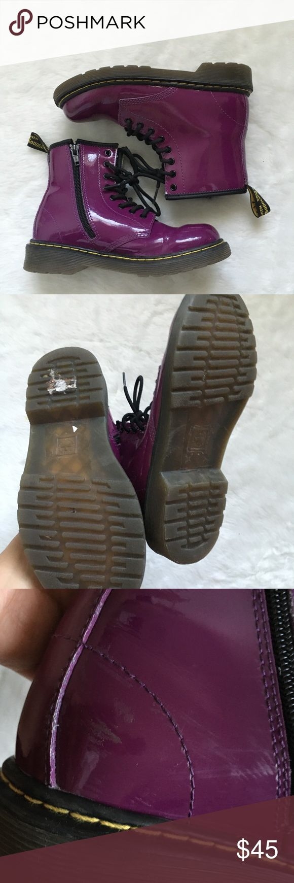 KIDS Dr. Martens Delaney Purple Boots 2 Does not include the original box.  Patent leather.  Lace up or side zipper entry.  Good condition with signs of wear.  Scuff on the inner side near the zippers Dr. Martens Shoes Boots