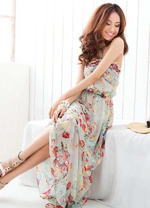 Boho style floweriness halter tied ladies dresses item code jnea301