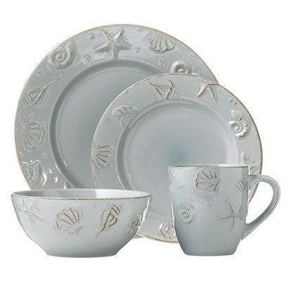 Cape Cod 16-pc. Dinnerware Set for $39.99 - beautiful robin's egg blue, very sturdy. I have them at our beach place and love them!