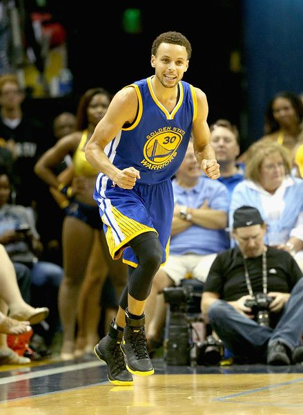 Description of . MEMPHIS, TN - MAY 15:  Stephen Curry #30 of the  Golden State Warriors celebrates after making a three point shot against the Memphis Grizzlies during Game six of the Western Conference Semifinals of the 2015 NBA Playoffs at FedExForum on May 15, 2015 in Memphis, Tennessee.  NOTE TO USER: User expressly acknowledges and agrees that, by downloading and or using this photograph, User is consenting to the terms and conditions of the Getty Images License Agreement  (Photo by…
