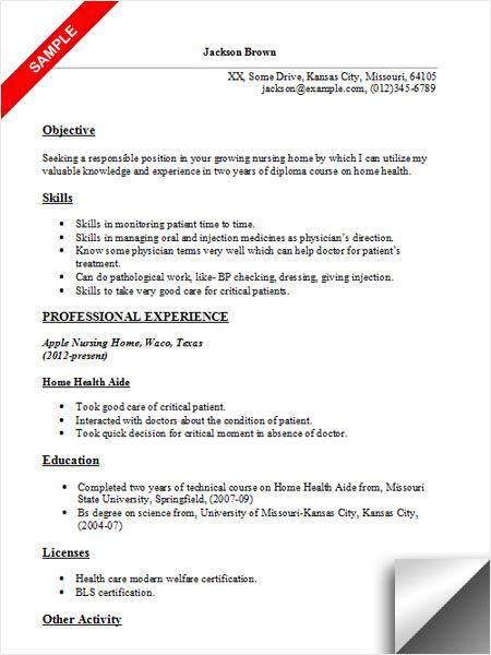 Home Health Aide Resume Sample Resume Examples Pinterest - sample resume for cna entry level