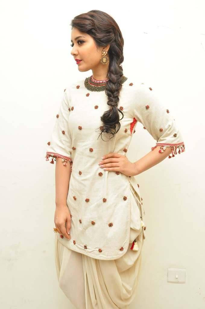 Rashi Khanna Images At Supreme Audio In White Dress