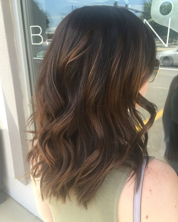 Brunette subtle balayage. Brunette balayage. Warm balayage. Subtle balayage. Brunette. Chocolate brown hair. Hair by Mallory at B Young Salon Wichita KS