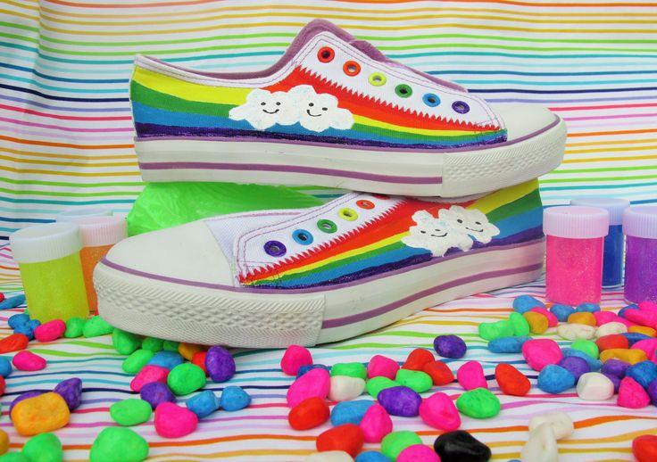 Acid Age hand painted shoes. Rainbows with kawaii clouds.