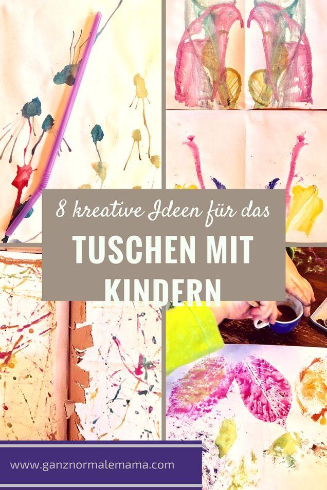 Kreative Ideen, was man mit Wasserfarben tuschen kann. Einfache Bastelanleitung für Kinder auch unter 3. Leicht zu Basteln.