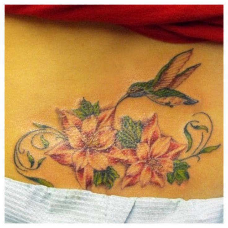 Hummingbird and flower tattoo on my lower back.