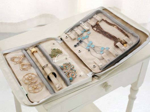 Fabulous Travel Jewelry Organizer - DIY this with a zippered binder. Use pieces of cardboard covered with fabric for the pages.