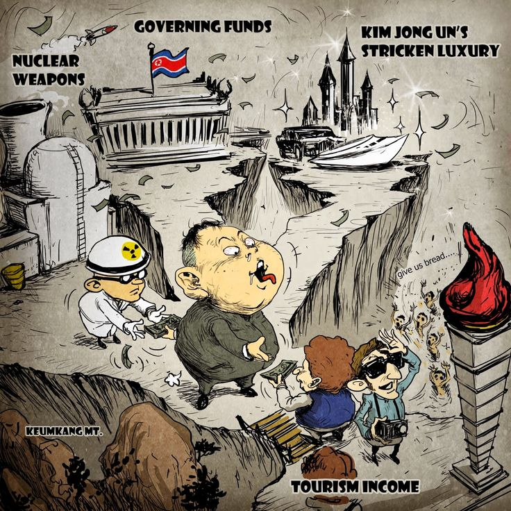 A political cartoon depicting the regime's use of tourism to fund their military operations as well as the luxurious life of Kim Jong-un.