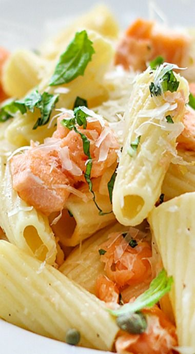 Light Lemon Garlic Pasta with Salmon - healthy, simple and fresh. With fresh basil, garlic, lemon juice, olive oil, capers and salmon.