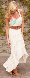 Country Club Ruffle Lace Dress Ivory