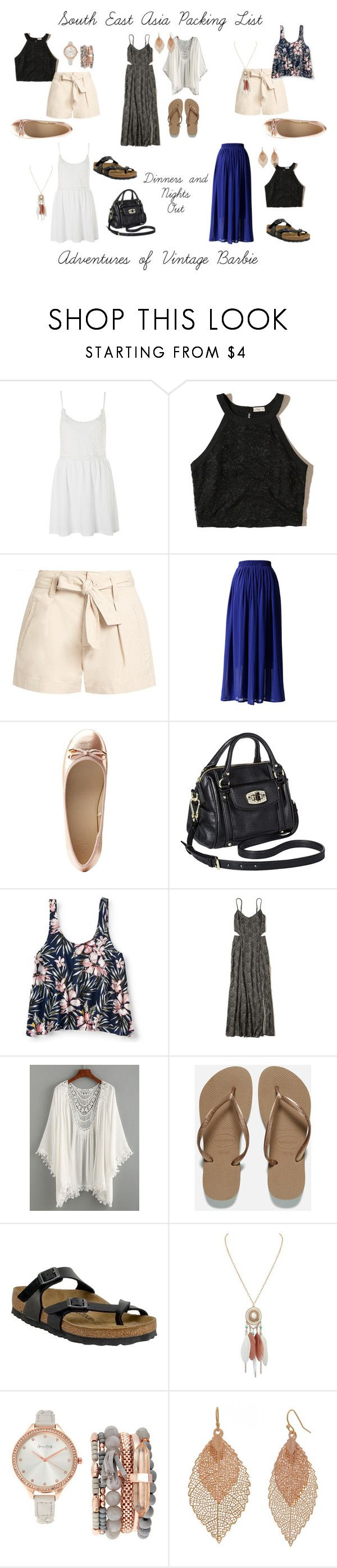 """""""South East Asia Packing List - Nights Out"""" by vintagebarbie17 on Polyvore featuring Topshop, Hollister Co., Étoile Isabel Marant, Chicwish, Charlotte Russe, Merona, Aéropostale, Havaianas, Birkenstock and Jessica Carlyle"""