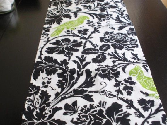 Black White And Green Runner, Leafy Flower Damask, Black And White With Lime  Green Bird Chartreuse, From FantasyVintageWear