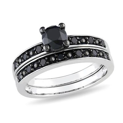 Black Diamond Bridal Set. I would have this as a right hand ring. Its beautiful!!!